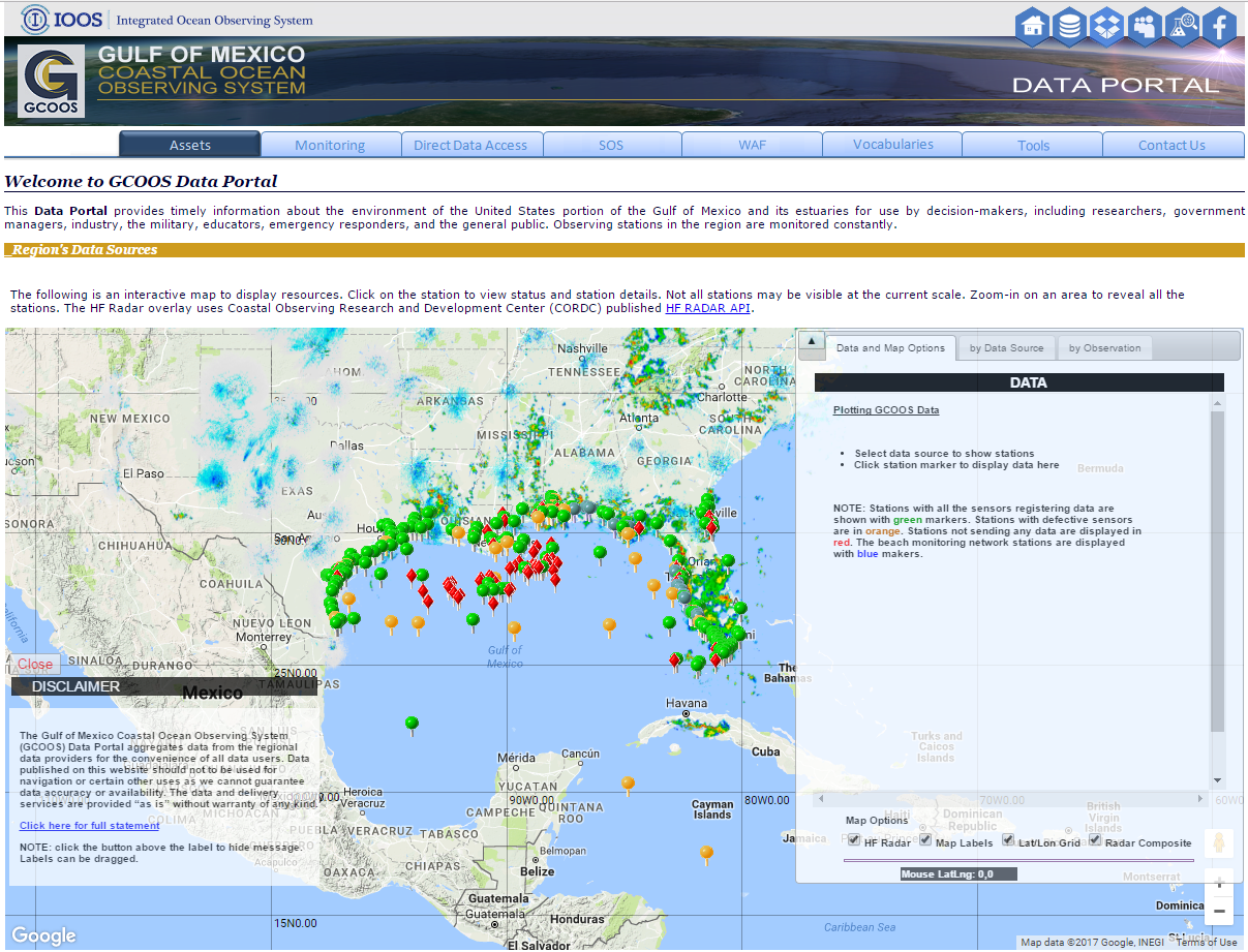 Gulf of Mexico Coastal Ocean Observing System Website