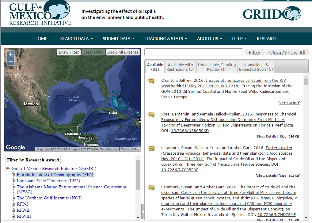 Gulf of Mexico Research Initiative Website