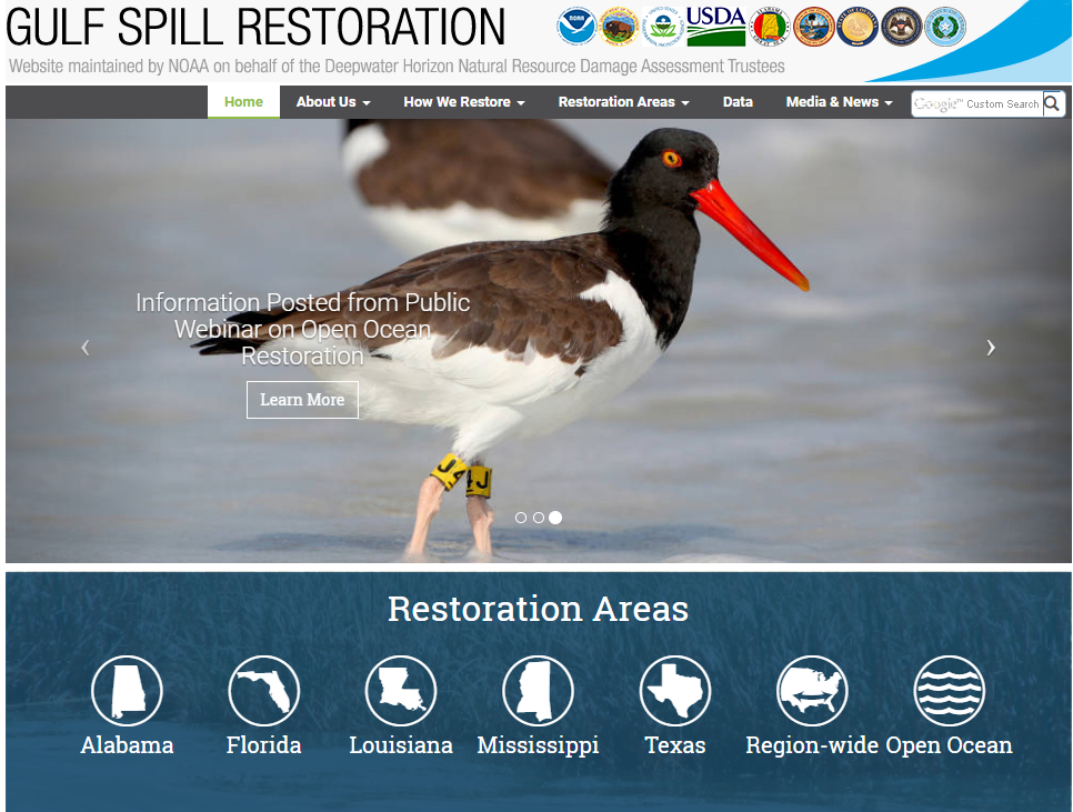 Gulf Spill Restoration Website