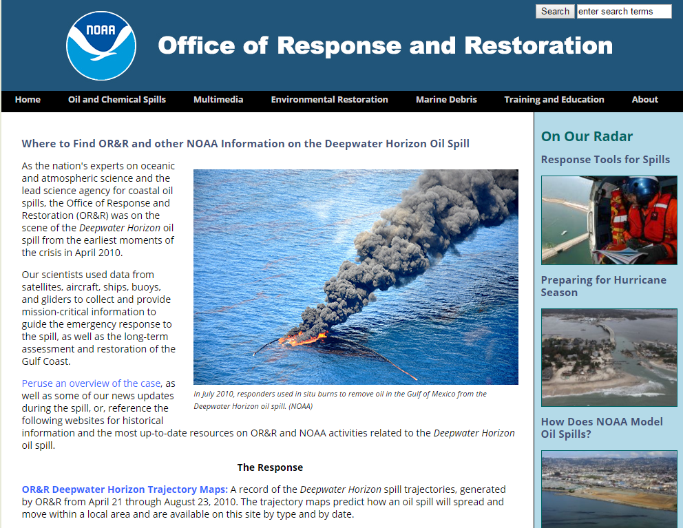 NOAA Office of Response and Restoration Website